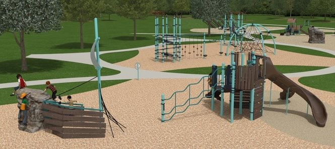 A rendering of the Riverview Discovery Island playground to be built in Bigelow Park on Middlegrounds Island.