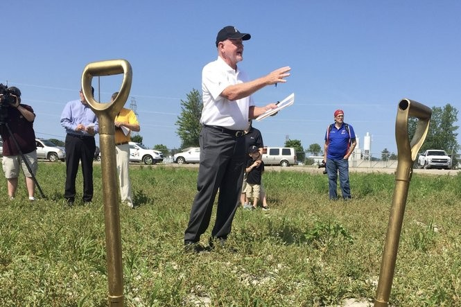 Michael Day, president of Falcon, speaks at a groundbreaking ceremony Wednesday, July 11.