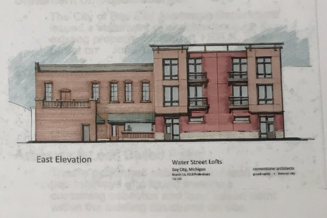 A rendering of new construction adjacent to the Stein Haus (as it will be seen from the alley) that's going to be part of the new North Peak Brewing Co. location in downtown Bay City.