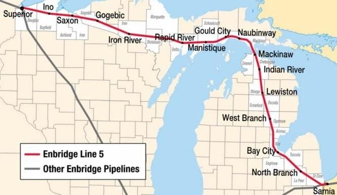 Map of Enbridge's Line 5 oil pipeline.