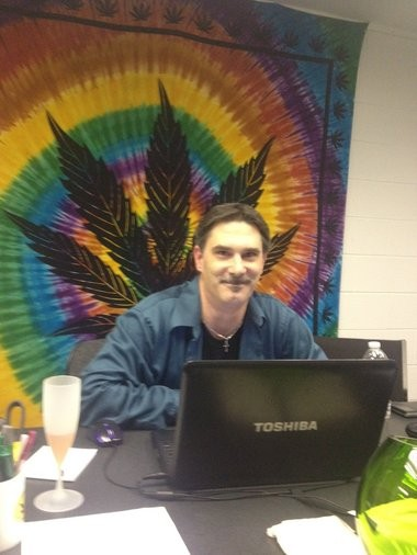 Medical marijuana advocate Rick Thompson conducts a webcast.