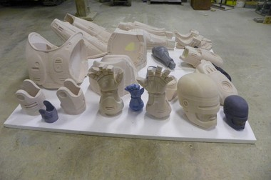 The foam components of a Robocop statue that will be molded into bronze in Detroit.