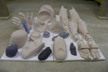 The foam components to a Robocop statue that a $67,000 Kickstarter campaign aims to have made into bronze and erected in Detroit.