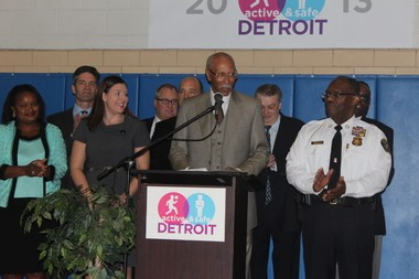 Detroit Mayor Dave Bing speaks to the public about the Active and Safe campaign that raised $14 million, enough to reverse previous plans to close 50 Detroit parks.