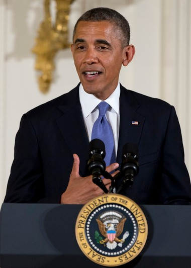 President Barack Obama in the East Room of White House on Wednesday, July 10, 2013. White House Press Secretary Carney on Thursday said the president has been in touch with Detroit leaders and is aware of the status of the city's financial crisis.