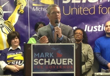 Michigan gubernatorial candidate Mark Schauer speaks to a union crowd in Detroit on Jan. 28, 2014, pledging to fight for a minimum wage increase, restoration of school funding and the earned income tax credit and repeals of pension taxes and right-to-work legislation that banned collecting union dues.