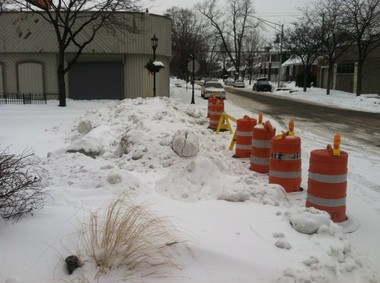 Barricade at Wayburn and Kercheval in Grosse Pointe Park, January 2014.