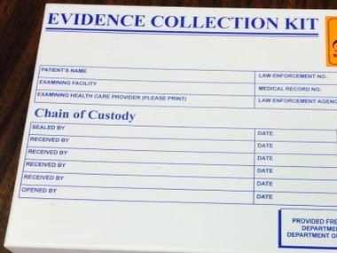 Example of a rape kit analysis kit with a chain of custody