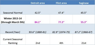 National Weather Service records show Detroit's 2013-14 winter so far is the second-snowiest ever recorded.