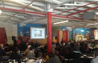 """Real estate developers gathered at the colorful Gleaners Community Food Bank on Detroit's east side Thursday, March 13, 2014 for a conference titled """"Old Schools, New Uses: Reinventing Vacant School Buildings & Sites in Detroit for Innovative Redevelopment."""""""
