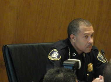 Detroit Police Chief James Craig announced neighborhood police officers at the March 18, 2014 Detroit City Council meeting in the Coleman A. Young Municipal Center Auditorium.