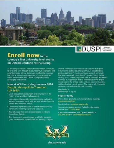 Wayne State University offers college course on Detroit