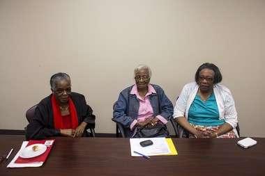Katie Bailey   MLive.com From left, Vernice Williams, Hattie Wigley and Juanita Davis, talk during a meeting of the Grandparents Raising Grandchildren Committee in Detroit, Wednesday, June 4, 2014. The committee aims to support grandparents raising their own grandchildren in the area by connecting them with resources, advocating for their rights and providing support group meetings. The three women pictured are all grandmothers raising their grandchildren, or in Williams' case, her great-grandchildren.