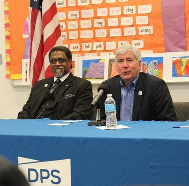 Gov. Rick Snyder announces the appointment of Darnell Earley to replaced Detroit Public Schools Emergency Manager Jack Martin Jan. 13, 2015.