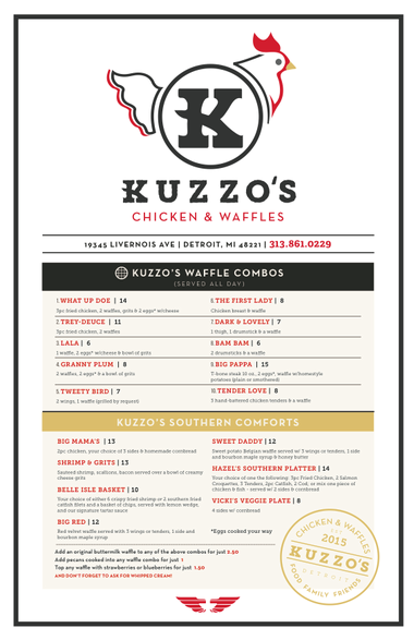 Kuzzo's Chicken and waffles menu