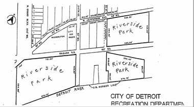 A Detroit Recreation Department image shows the layout of Riverside Park's three parcels along the Detroit River.