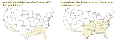 A graphic from the Centers for Disease Control maps the known habitats of two mosquito species, one known to spread the Zika virus and the other believed to be capable of it.