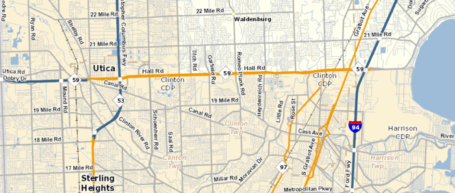 Expected area of work is the 3.7 mile stretch from M-53 to west of Garfield Road on M-59.
