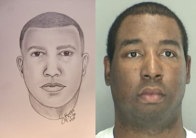 Floyd Galloway Jr. along police sketch of suspect created by State Police Sgt. Sarah Krebs.