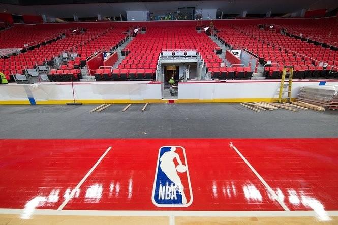 Detroit Pistons install new court inside Little Caesars