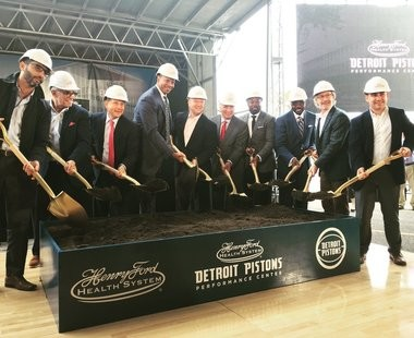 Officials break ground on the Detroit Pistons Performance Center on Monday, Oct. 23, 2017. The facility is expected to open in the summer of 2019. (Courtesy of The Platform LLC)
