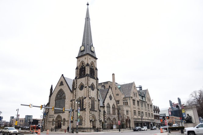 Central United Methodist Church in Detroit where Albanian immigrant Ded Rranxburgaj, 48 of Southgate, has sought sanctuary inside the church to avoid deportation scheduled for Thursday, Jan. 25, 2018. (Tanya Moutzalias | MLive Detroit)