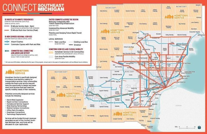 "Map of the proposed the 2018 ""Connect Southeast Michigan"" four-county transit plan that Wayne County presented to the Regional Transit Authority of Southeast Michigan on Thursday, March 15."