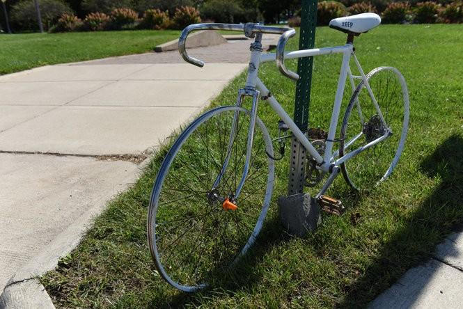 """A """"ghost bike"""" placed near Belle Isle in honor of Zack Zduniak."""