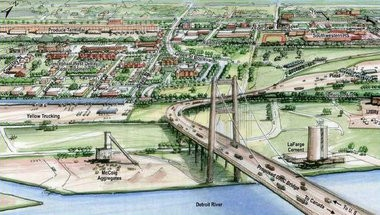 A sketch of the proposed New International Trade Crossing previously prepared by the Michigan Department of Transportation.