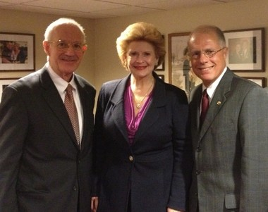 From left, Major General Gerald A. Miller, U.S. Army (Retired), Senator Debbie Stabenow (D-MI) and Major General Thomas Cutler, U.S. Air Force (Retired).