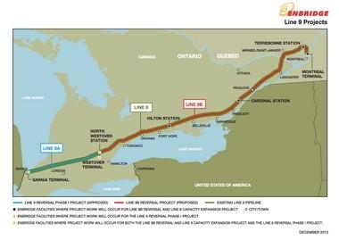 Enbridge map of Line 9 through Ontario, Canada.