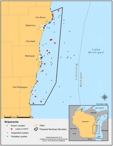 Proposed area of Lake Michigan off Wisconsin that could become a National Marine Sanctuary.
