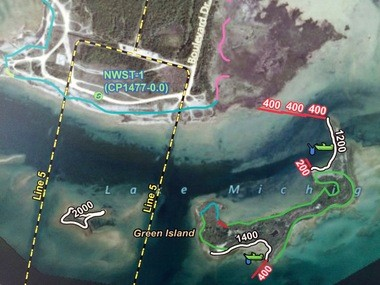 Map showing Enbridge spill response plans at Point La Barbe near St. Ignace.