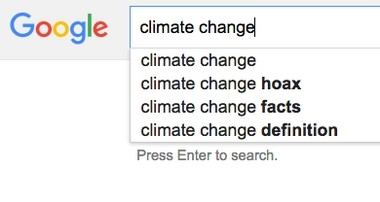 """Google search suggestions for """"climate change."""""""