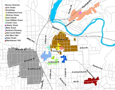 Map of historic districts in Ann Arbor.