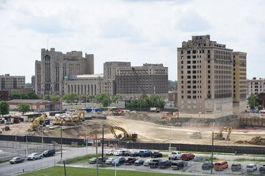 The vacant Hotel Park Avenue was torn down in 2015 to make room for the Detroit Red Wings arena and entertainment district.