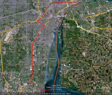 """Google map showing the EPA """"non-attainment"""" area of downriver Detroit where sulfur dioxide emissions from steel mills and coal plants are high."""