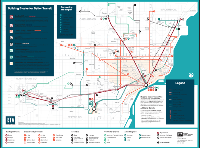 An outline of transit lines proposed in a Nov. 8 millage request from the Regional Transit Authority of Southeastern Michigan.