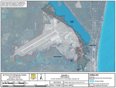 A Michigan DEQ map of Wurtsmith Air Force Base.