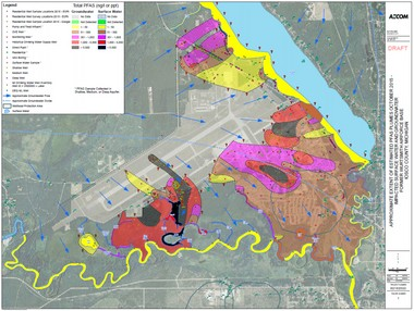 February 2016 conceptual site modeling of perfluorinated chemicals in groundwater and surface water at and near the former Wurtsmith Air Force Base in Oscoda.
