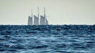 The Denis Sullivan, a replica three-masted, wooden schooner from Milwaukee, Wis., passing Frankfort in Lake Michigan on Saturday, July 2, 2016.