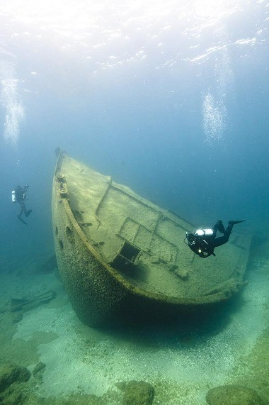 Divers come from around the nation to explore shipwrecks offshore from Alpena. (Photo by NOAA, Thunder Bay National Marine Sanctuary)