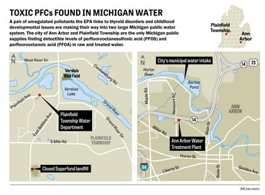 Maps showing Plainfield Township and Ann Arbor, where public water has tested positive for perfluorinated chemicals.