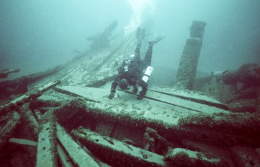 A 2008 photo of diver Craig Rich on the Ironsides, a 218-foot passenger steamer that sank in Lake Michigan during a storm on Sept. 15, 1873 off Grand Haven.