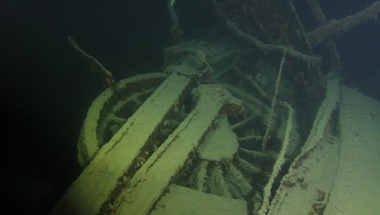 Wheels of the Canadian Pacific Railroad Locomotive 694, discovered on July 22, 2016. Three men died when the derailed train plunged into Lake Superior in 1910.