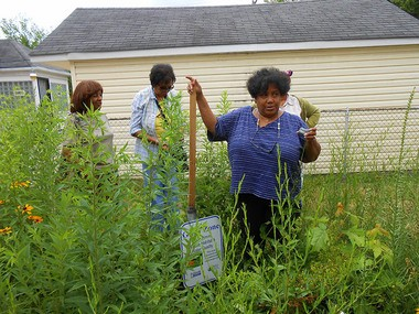 Detroit resident Valerie Burris discusses the rain garden she built in her yard on Stahelin Street. (Photo courtesy Friends of the Rouge)