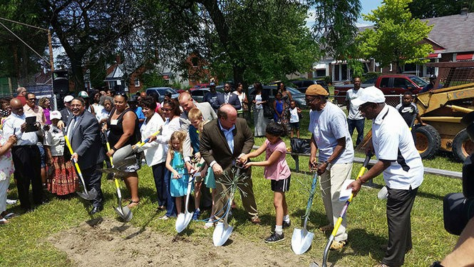 In July, Detroit Mayor Mike Duggan lead the groundbreaking ceremony for the revitalization of Viola Liuzzo Park. The project includes bio-retention areas that will capture stormwater, and keep it out of local streams. (Photo courtesy city of Detroit)
