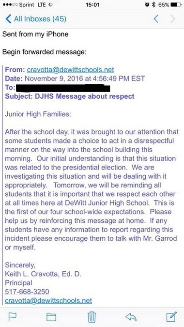 The message sent to DeWitt Junior High School parents regarding an incident on Nov. 9, 2016.