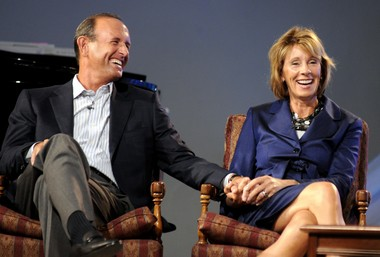 Dick, left, and Betsy DeVos, right, speak at Evergreen Commons in the Edgar D. Prince Lessons in Leadership Series Wednesday September 8, 2010. (Darren Breen | The Grand Rapids Press)