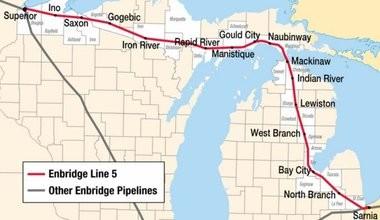 A map of the Enbridge Line 5 pipeline.